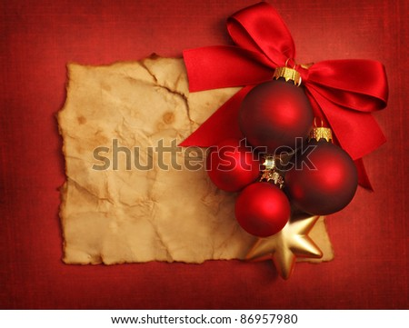 Christmas frame for greeting card with decorative christmas ornaments