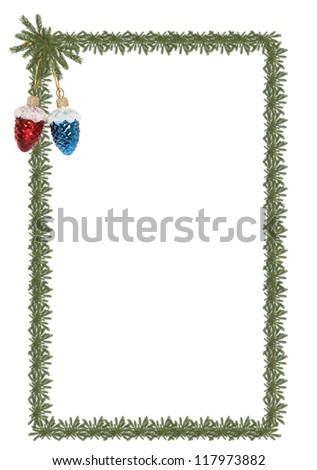 Christmas frame made from lot of fir twigs on white background - stock photo