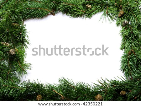 Christmas frame made of branches with pine cones - stock photo