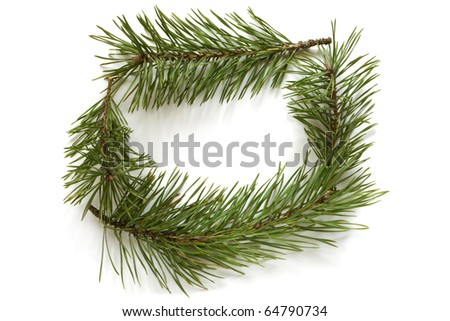Christmas frame made of pine branches on white background