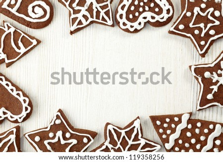Christmas frame of gingerbread cookies