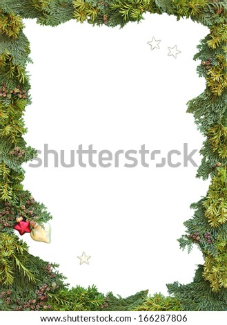 christmas frame of natural thuja and jew twigs with copy space