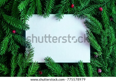 Christmas frame on the background of the Christmas tree, New Year theme. #775578979
