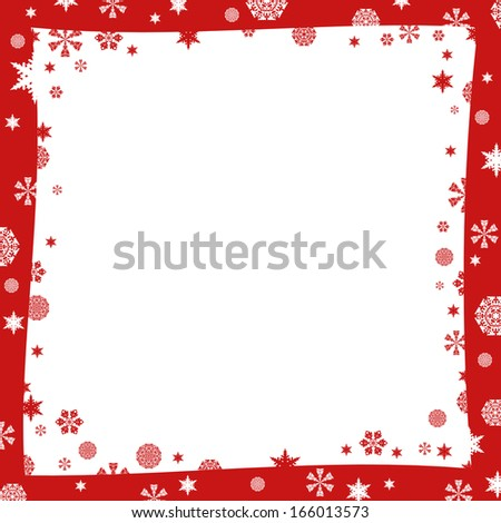 Christmas frame. White and red snowflakes. White background #166013573