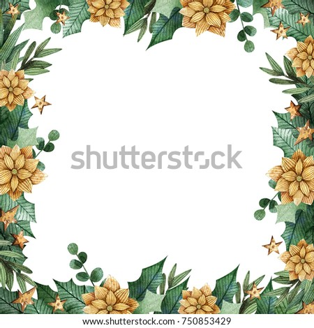 Christmas frame with berries, leaves and flowers.
