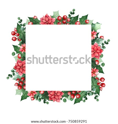 Christmas frame with berries, leaves and flowers