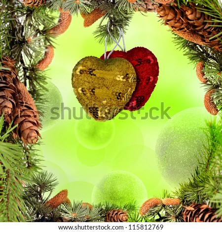 Christmas frame with hearts