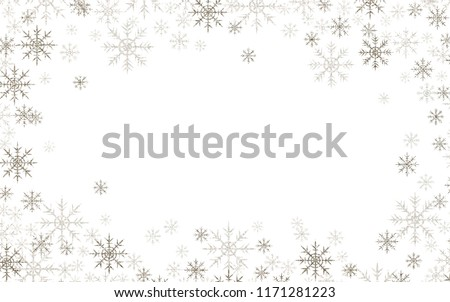 Christmas frame with silver and white snowflakes isolated on white #1171281223