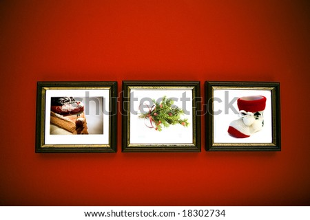 christmas frames on red wall