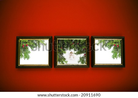 stock photo : christmas frames on red wall