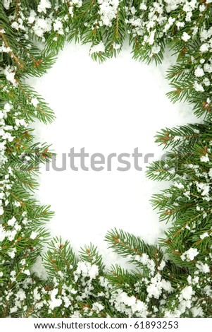 Christmas framework with snow isolated on white background