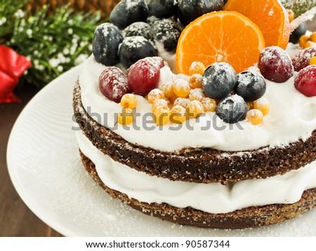 Christmas fruitcake with whipped cream and fruits. Shallow dof.