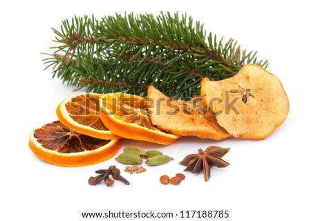 Christmas fruits and spices and empty space for your text