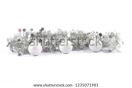 Christmas garland and baubles on white #1235071981