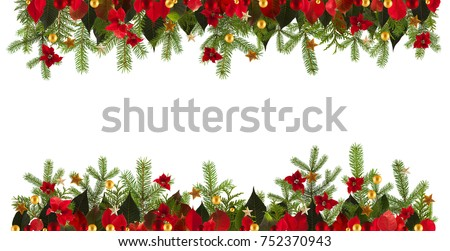 Christmas garland background with golden stars and poinsetta, free space for your text