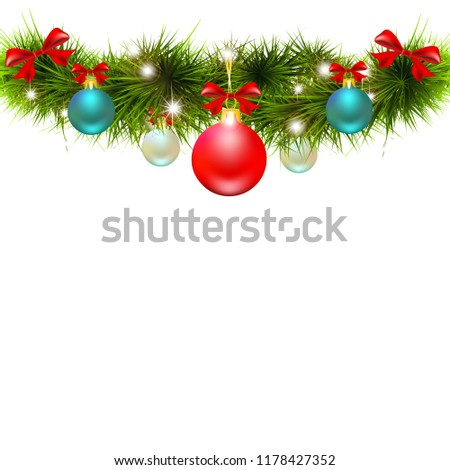 Christmas garland, balls,red bows, on a white #1178427352