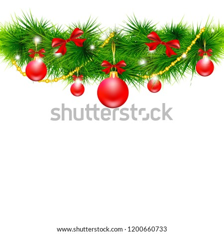 Christmas garland, balls,red bows, on a white #1200660733