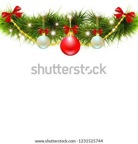 Christmas garland, balls,red bows, on a white #1231525744