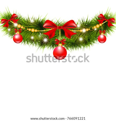 Christmas garland, balls,red bows, on a white #766091221