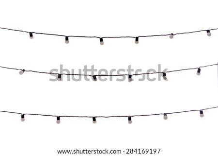 Christmas garland bulbs isolated on white - Shutterstock ID 284169197