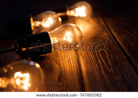 Christmas garland of incandescent lights. Christmas background