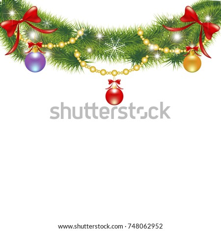 Christmas garland,on a white #748062952