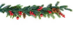 Christmas garland on white