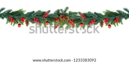 Christmas garland on white #1233383092
