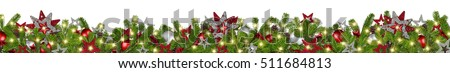 christmas garland super wide panorama banner with fir branches red silver stars lights and baubles xmas decoration isolated on white background #511684813
