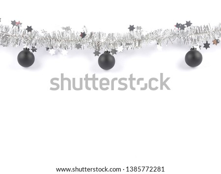Christmas garland with baubles on white #1385772281