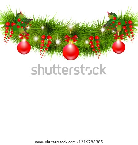 Christmas garland with poinsettia and cotton flowers, isolated on a white #1216788385
