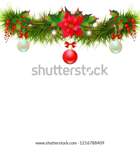 Christmas garland with poinsettia and cotton flowers, isolated on a white #1216788409