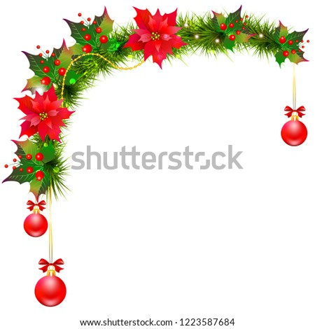 Christmas garland with poinsettia and cotton flowers, isolated on a white #1223587684