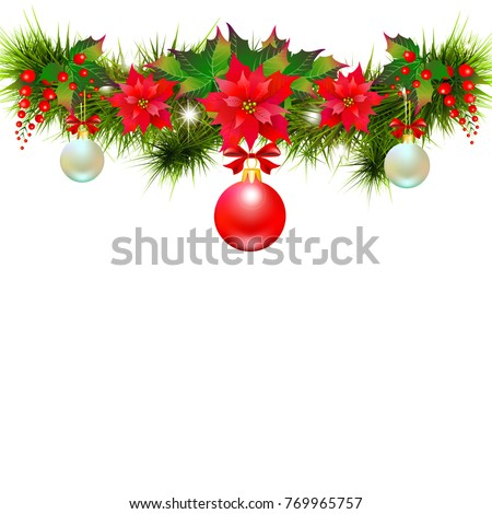 Christmas garland with poinsettia and red ball ,isolated on a white #769965757