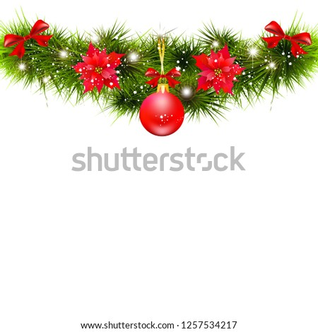 Christmas garland with poinsettia and red ribbons ,isolated on a white #1257534217