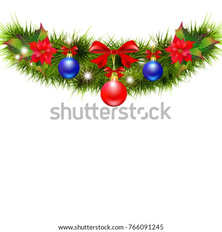 Christmas garland with poinsettia and red ribbons ,isolated on a white #766091245