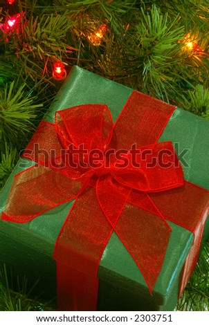 Christmas Gift - A green fabric wrapped gift with a bright red gossamer ribbon and bow sits among the branches of a lighted christmas tree.