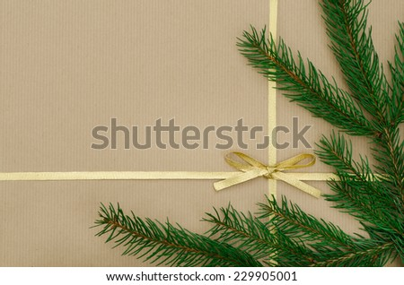 Christmas gift background with ribbon