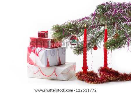 Christmas gift, baubles, candles and trees on white background. Nativity Scene Christmas Ornament. Happy new year! isolated on white.