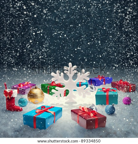 Christmas gift box and big snowflake on snow. Christmas concept Background