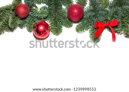Christmas gift box, food decor and fir tree branch on wooden table. Top view with copy space #1239898552