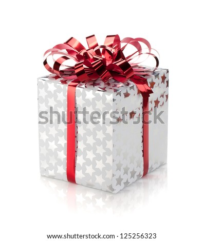 Christmas gift box. Isolated on white background