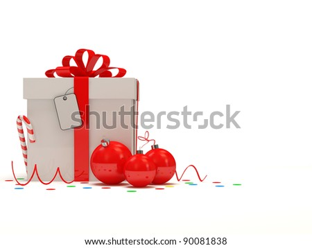 Christmas Gift Box on white background with place for your text