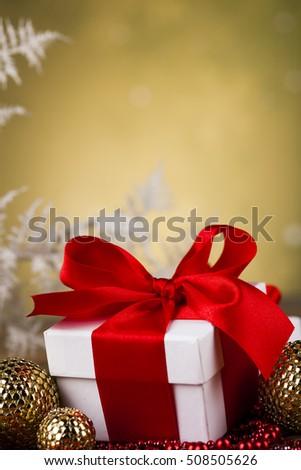 Christmas gift box, red ribbon #508505626