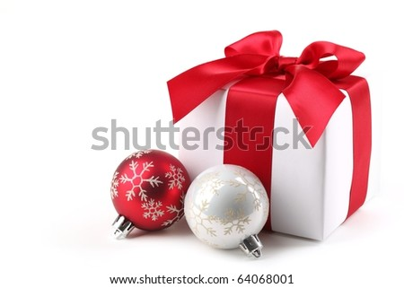 Christmas Gift Box with bauble.