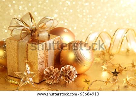 Christmas gift box with christmas balls #63684910