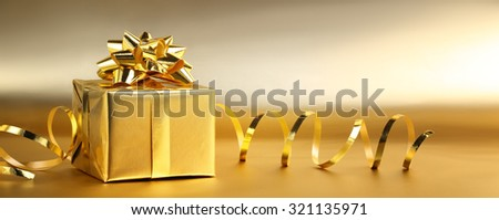 Christmas gift box with decorations #321135971