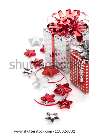 Christmas gift boxes and decor. Isolated on white background