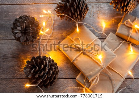 christmas gift boxes and little lights