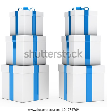 christmas gift boxes blue white stack tower